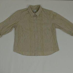 C.J. Banks Plus 1X Beige   Blouse Cotton Solid